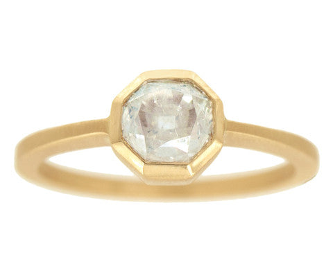 1.00-carat Octagonal Grey Diamond & Yellow Gold Ring