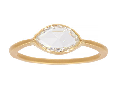 0.50ct Marquise White Rose-cut Diamond & Yellow Gold Bezel Ring