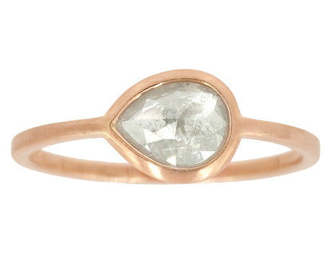 0.85ct Pear Rose-cut Grey Diamond & Rose Gold Wire Ring
