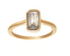 1.25ct Cushion Rose-cut Grey Diamond & Yellow Gold Bezel Ring