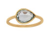 1.69ct Pear Rose-cut Pale Blue Sapphire & Yellow Gold Wire Ring