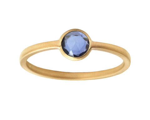 0.50 carat Round Rose Cut Sapphire Gold Ring