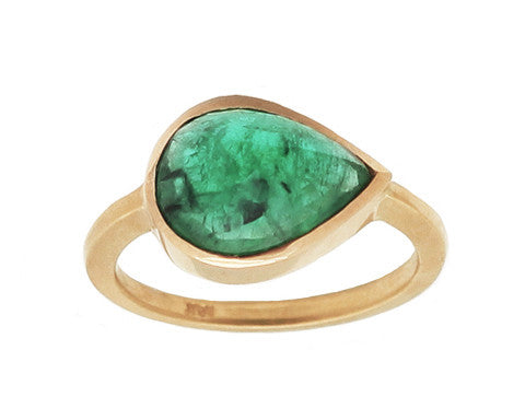 3.22 Carat Pear Rose Cut Emerald Ring