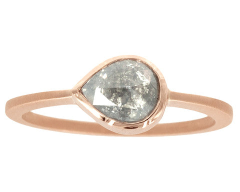 0.90 Carat Grey Rosecut Pear Diamond & 14-Karat Rose Gold Ring