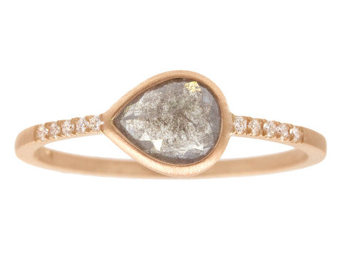 0.75ct Pear Rose-cut Grey Diamond & Rose Gold Pavé Ring