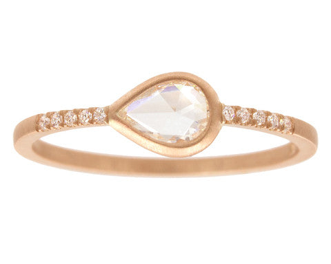 0.30ct Pear White Rose-cut Diamond & Rose Gold Pavé Wire Ring