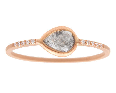 0.34ct Pear Grey Rose-cut Diamond & Rose Gold Pavé Wire Ring