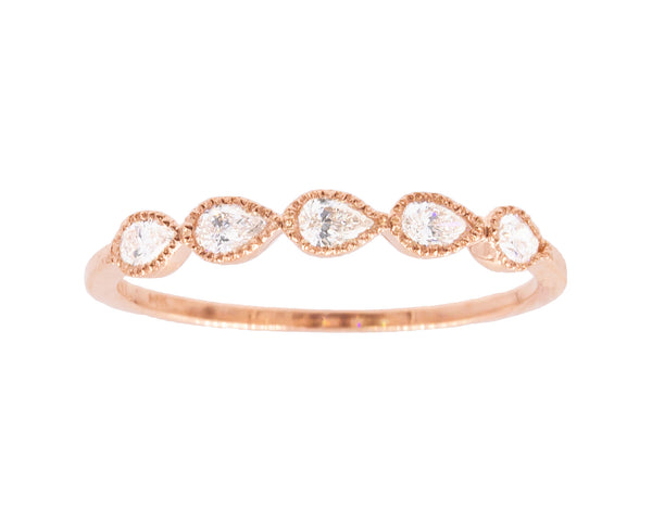 14k Gold & Pear Diamond Band