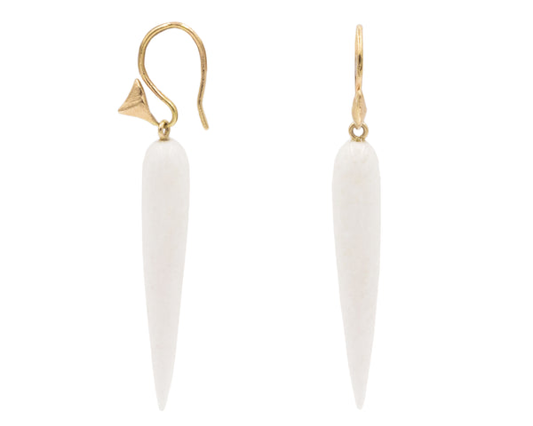White Agate Pointed Drops & Gold Thorn Earrings