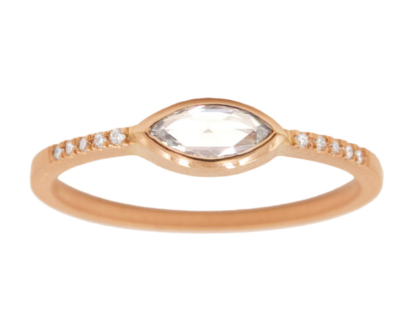 0.30ct Marquise White Rose-cut Diamond & Rose Gold Pavé Bezel Ring