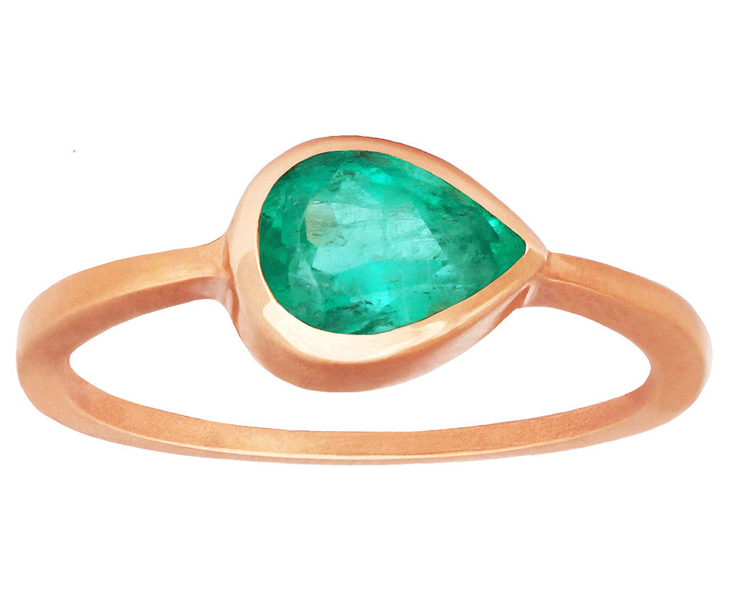 1 carat Pear Colombian Emerald Ring