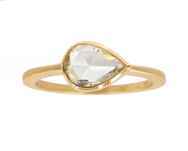 1ct Pear Rose-cut White Diamond & Yellow Gold Ring