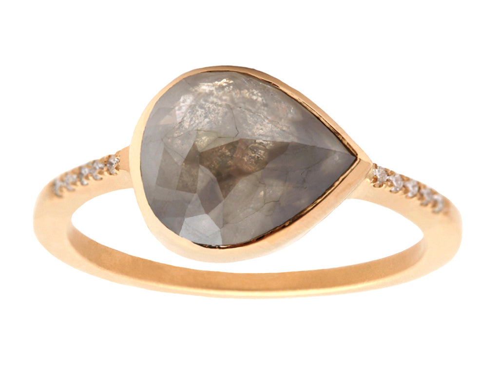 2.5ct  Rose-cut Grey Diamond & Yellow Gold Pavé Ring