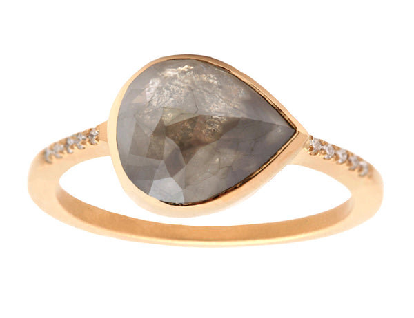 2.72ct Rose-cut Grey Diamond & Yellow Gold Pavé Ring