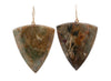 Triangle Pointed Jasper Drops & 14K Yellow Gold Hook Earrings
