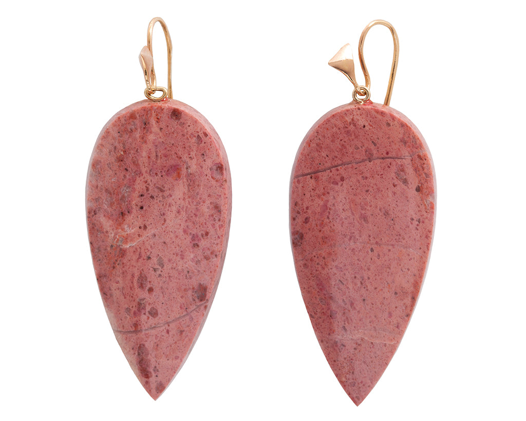American Rhodolite & Yellow Gold Thorn Hook Earrings