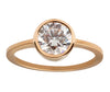 1ct Round Ideal-cut White Diamond & Yellow Gold Bezel Ring