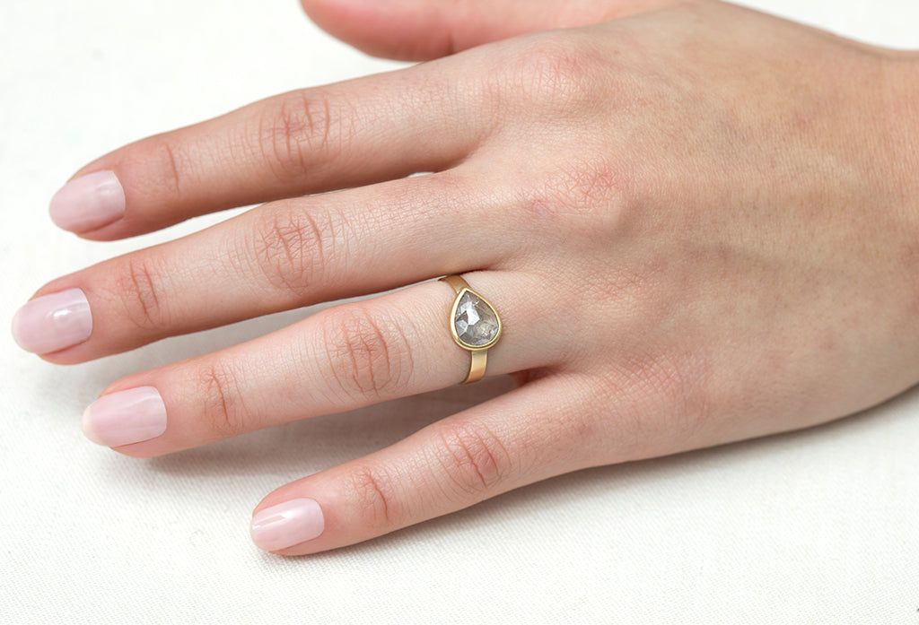 2ct Pear Grey Diamond & Ribbon Gold Ring