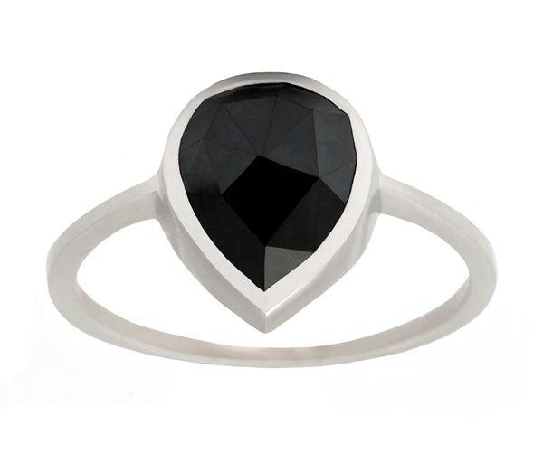 2.70ct Pear Rose-cut Black Diamond Ring