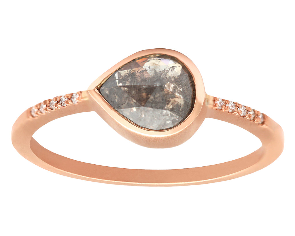 0.67ct Pear Grey Diamond & Rose Gold Pavé Bezel Ring