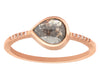 0.67ct Pear Rose-cut Grey Diamond & Rose Gold Pavé Bezel Ring