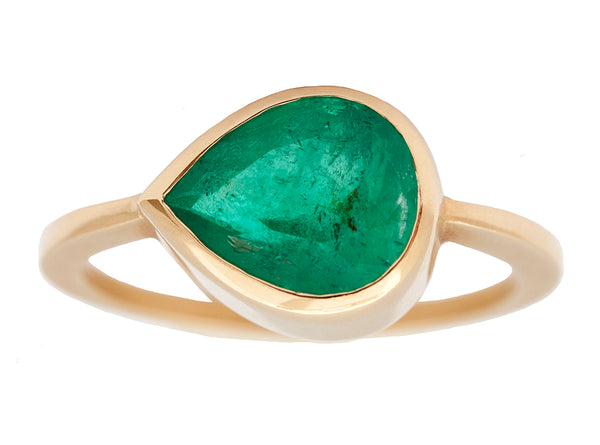 3.22ct Pear Colombian Emerald Ring
