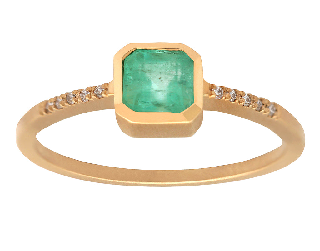 0.50ct Cushion Emerald & Yellow Gold Pavé Diamond Bezel Ring