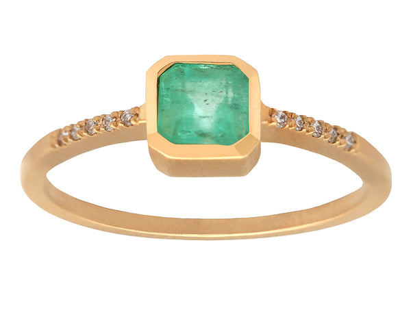 0.50ct Cushion Emerald & Yellow Gold Pavé Diamond Ring