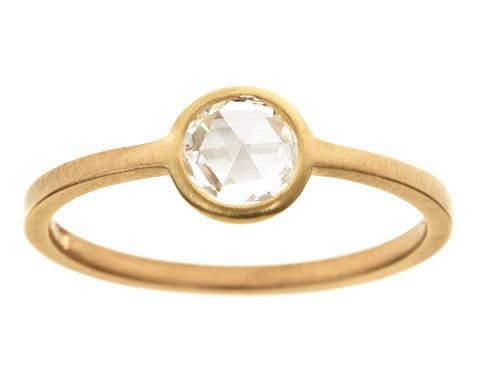 0.50ct Round Rose-cut White Diamond & Yellow Gold Wire Ring