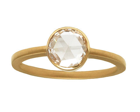 0.75-carat Round Rose Cut White Diamond & Yellow Gold Ring