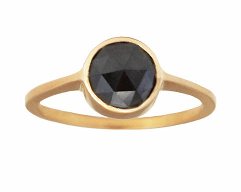 1.00-carat Round Rose-cut Black Diamond & Yellow Gold Ring