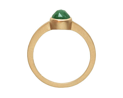 0.75ct Round Rose-cut Emerald & Yellow Gold Bezel Ring