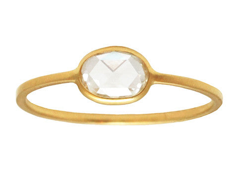 0.40ct Cushion White Rose-cut Diamond & Yellow Gold Wire Ring