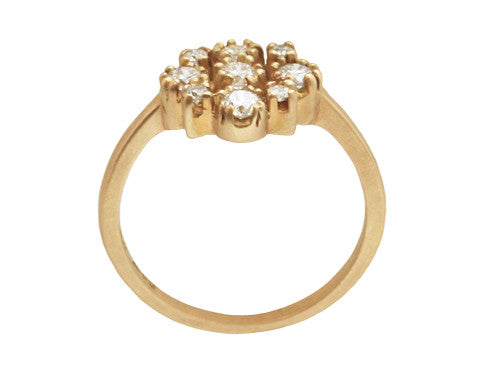 Marie White Diamond Cluster & Yellow Gold Ring