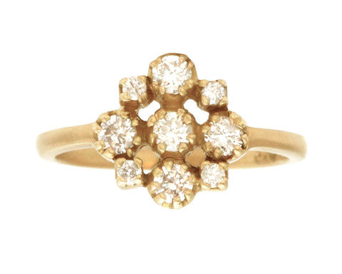 Yellow Gold Marie White Diamond Cluster Ring