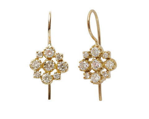 Yellow Gold Marie White Diamond Cluster Earrings