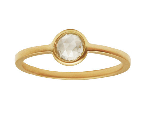 0.30ct Round Grey Rose-cut Diamond & Yellow Gold Wire Ring