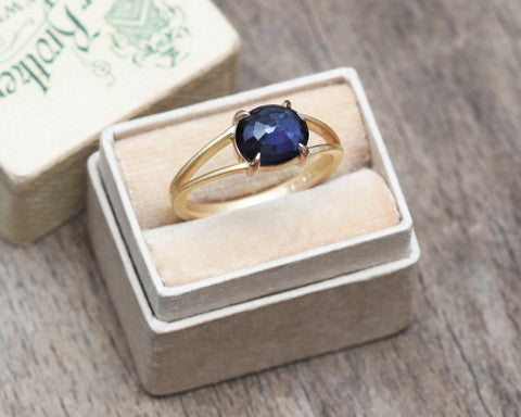 1.92 Carat Oval Blue Sapphire Ring