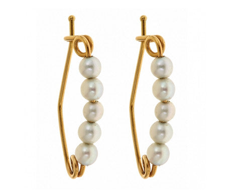 14K Yellow Gold & Pearl Pin Earrings