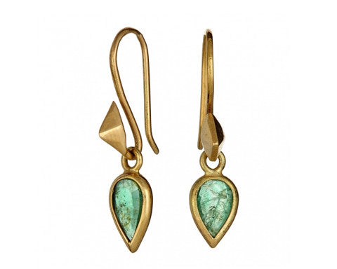 Pear Rose-cut Emerald & Thorn Gold Earrings