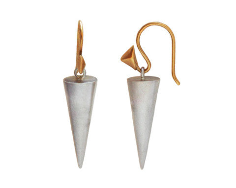 14k Yellow Gold & Silver Pointed Cone Drop Earrings
