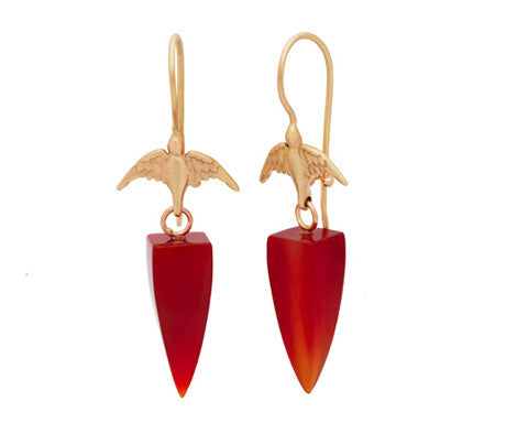 14K Gold Bird Hooks & Carnelian Bullet Drop Earrings