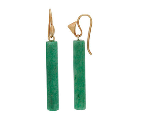 Adventurine Drops & 14-karat Gold Thorn Hook Earrings