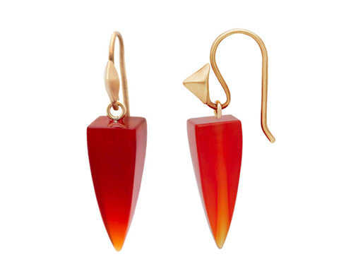 Carnelian Bullet Drops & 14K Gold Thorn Hook Earrings