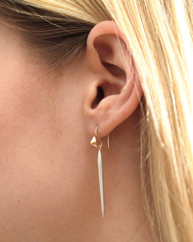 Sterling Silver Pointed Needle Drops & 14k Gold Thorn Hook Earrings