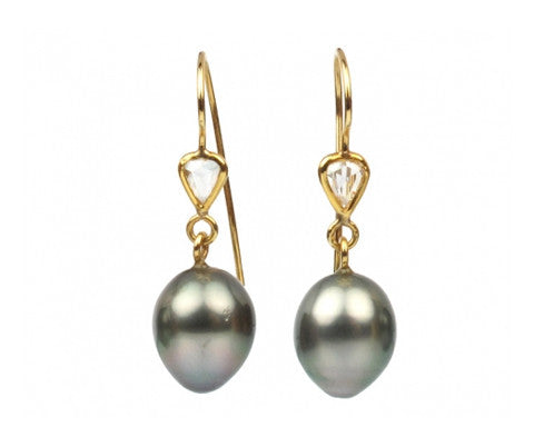 Tahitian Pearls & Rosecut Diamond Earrings