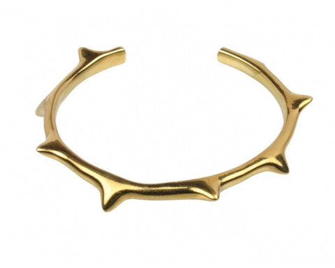Solid 14k Yellow Gold Thorn Cuff