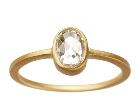 0.50ct Oval White Rose-cut Diamond & Yellow Gold Bezel Ring