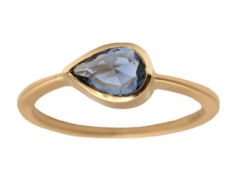 0.70ct Pear Rose-cut Sapphire & Yellow Gold Bezel Ring