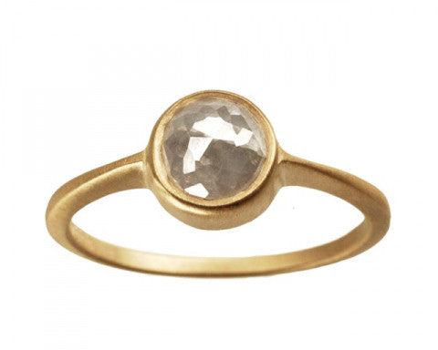 1ct Round Rose-cut Grey Diamond & Yellow Gold Bezel Ring